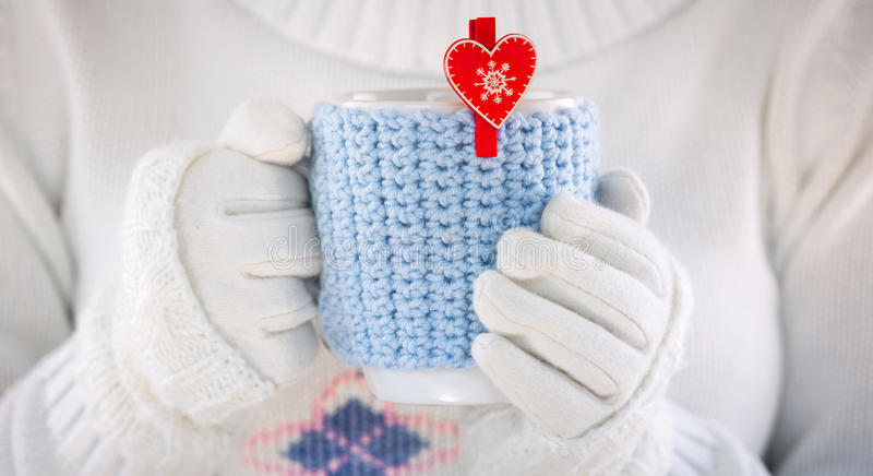 Knitted wool cup stock images