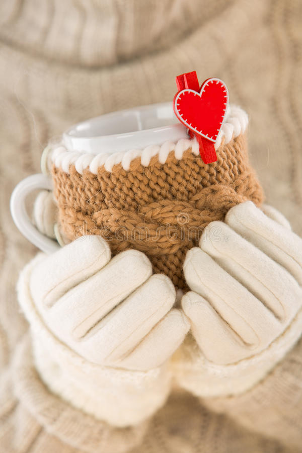 Knitted wool cup royalty free stock photography