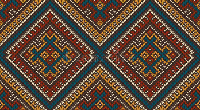 Knitted Wool Pattern in Tribal Aztec Style. Seamless Background vector illustration