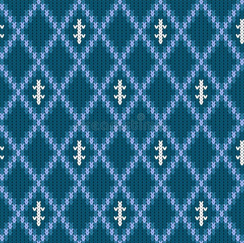 Winter Knitted woolen seamless jacquard ornament. Blue jacquard pattern vector illustration