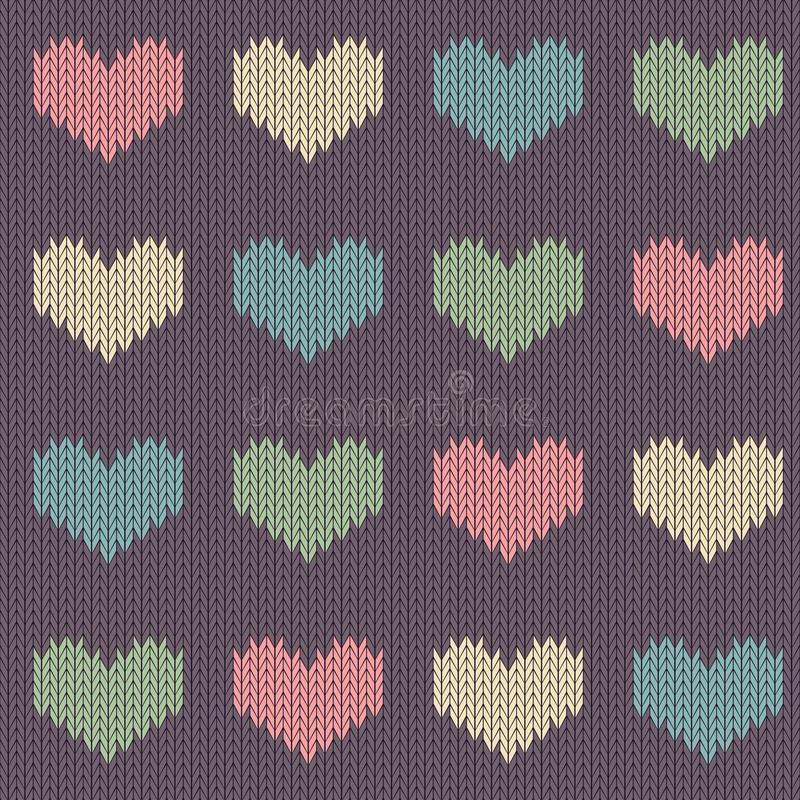 Knitted woolen seamless pattern with colored hearts on a vintage purple background vector illustration