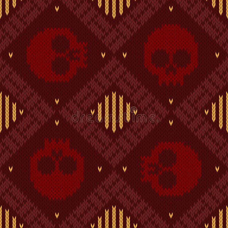 Knitted woolen seamless pattern with skulls in red shades to the day of the dead stock illustration