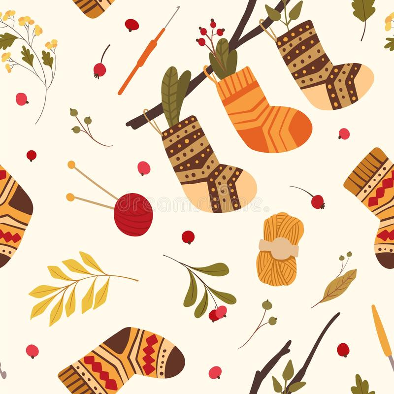 Knitted woolen socks flat vector seamless pattern. Warm winter footwear with folk ornaments hanging on tree branch. Autumn leaves, dogrose hips, guelder berries vector illustration