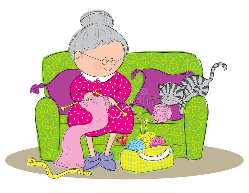Knitting. Hand drawn picture of a old woman knitting a scarf. Illustrated in a loose style. Vector eps available