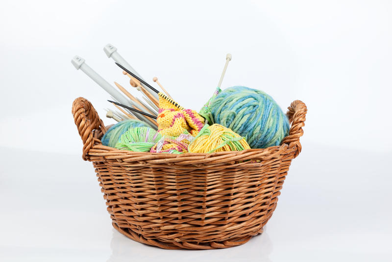 Knitting basket stock photography