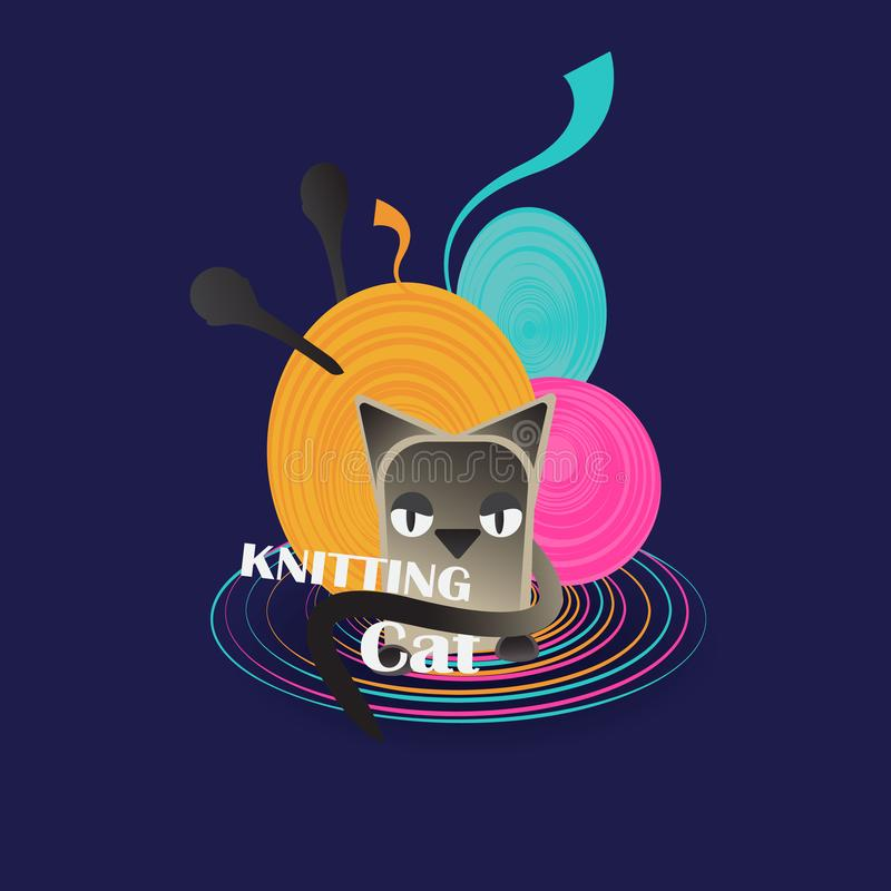 Knitting cat, cute creative logotype for web and print. Lovely cartoon kitten with skeins of thread for knitting and  needles royalty free illustration