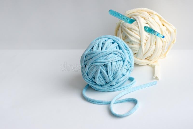 Knitting crafts. Skeins of yarn knitting crochet royalty free stock photos