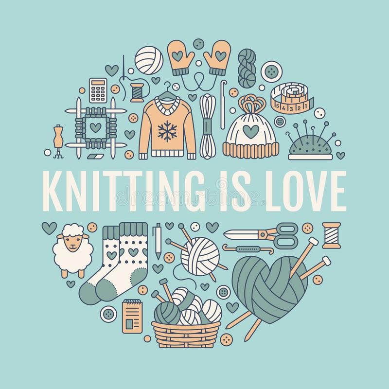 Knitting, crochet, hand made banner illustration. Vector line icon knitting needle, hook, scarf, socks, pattern, wool. Skeins and other DIY equipment. Yarn or stock illustration