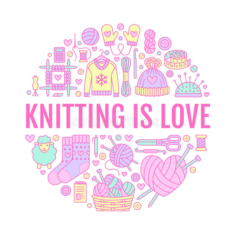 Knitting, crochet, hand made banner illustration. Vector line icon knitting needle, hook, scarf, socks, pattern, wool. Skeins and other DIY equipment. Yarn or royalty free illustration