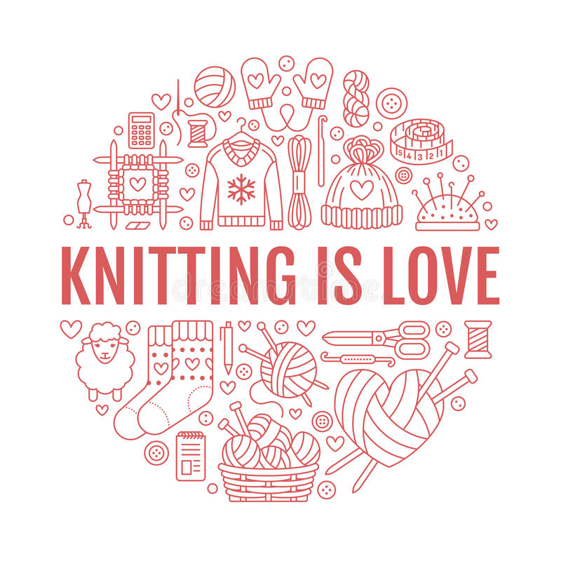Knitting, crochet, hand made banner illustration. Vector line icon knitting needle, hook, scarf, socks, pattern, wool. Skeins and other DIY equipment. Yarn or vector illustration