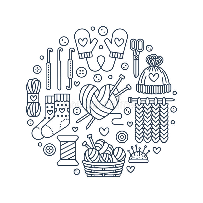 Knitting, crochet, hand made banner illustration. Vector line icon. Knitting needle, hook, scarf, socks, pattern, wool skeins and other DIY equipment. Yarn or vector illustration