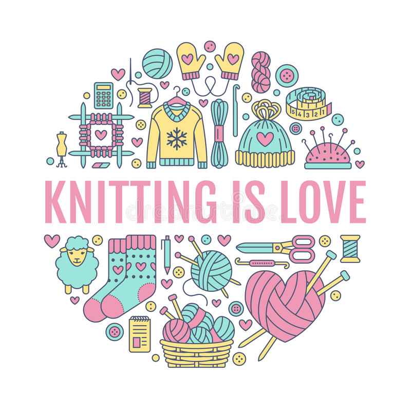 Knitting, crochet, hand made banner illustration. Vector line icon needle, hook, scarf, socks, pattern, wool skeins an. Knitting, crochet, hand made banner royalty free illustration