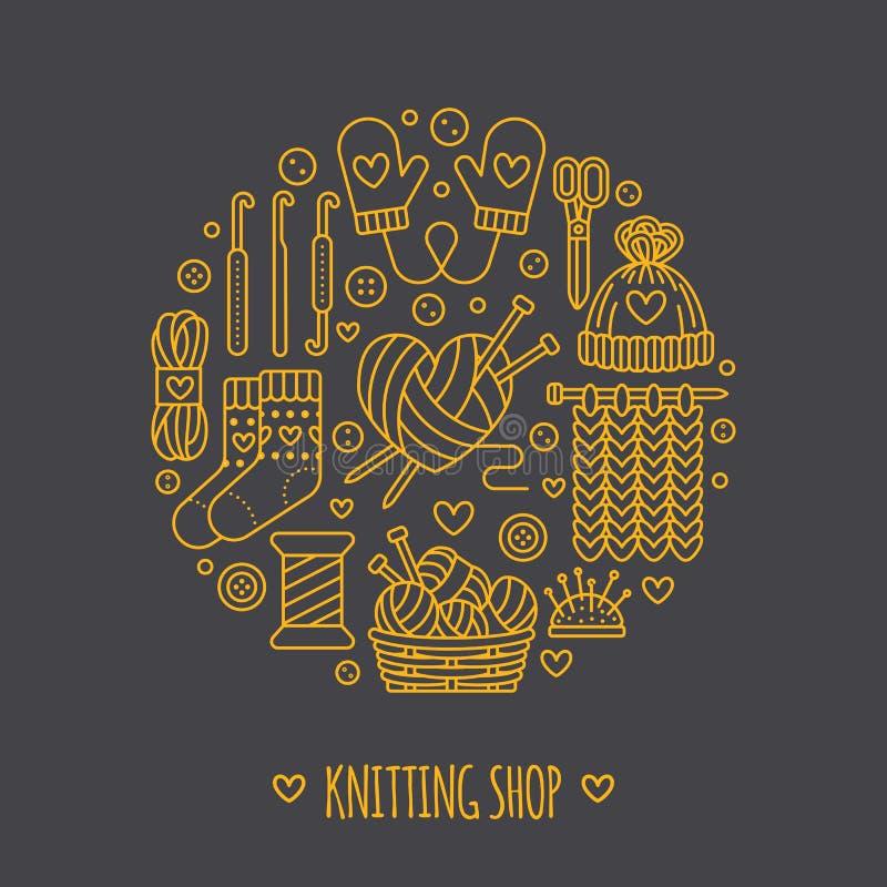 Knitting, crochet, hand made banner illustration. Vector line icon needle, hook, scarf, socks, pattern, wool skeins an. Knitting, crochet, hand made banner vector illustration