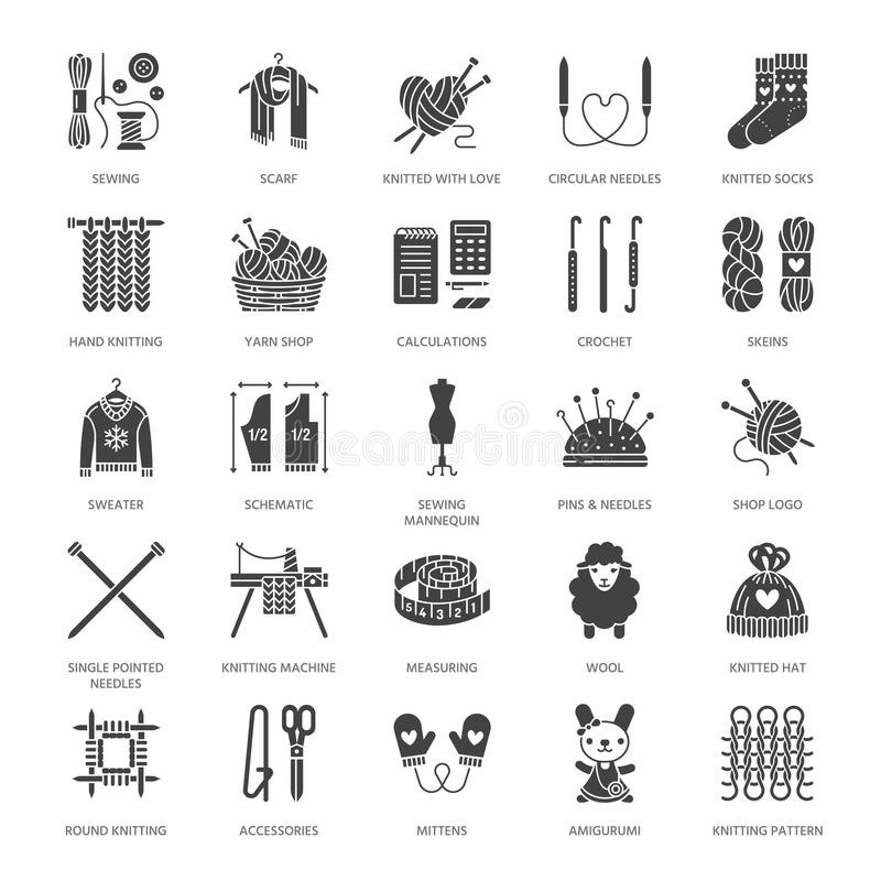 Knitting, crochet, hand made flat glyph icons set. Needle, hook, scarf, socks, pattern, wool skeins, DIY equipment. Knitting, crochet, hand made flat glyph icons stock illustration