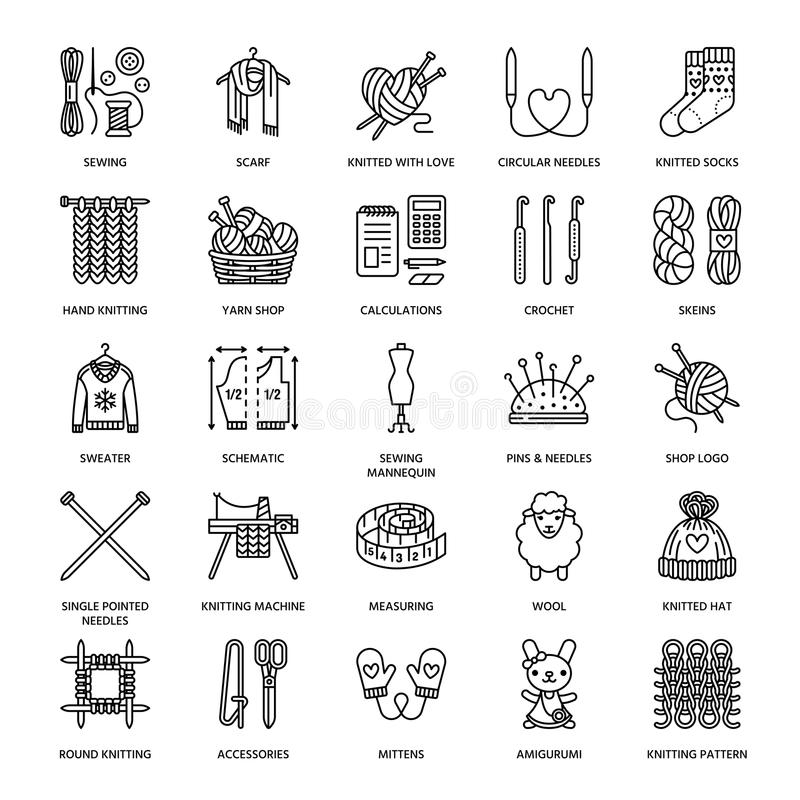 Free Knitting, Crochet, Hand Made Line Icons Set. Knitting Needle, Hook, Scarf, Socks, Pattern, Wool Skeins And Other DIY Stock Photography - 84709302