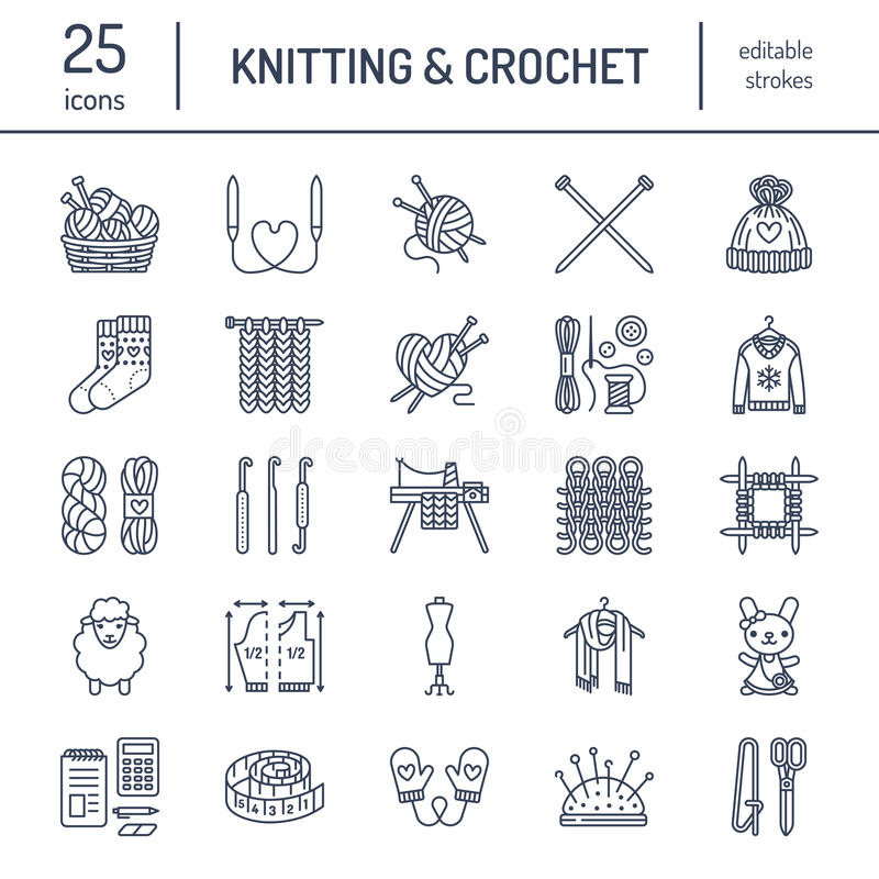 Knitting, crochet, hand made line icons set. Knitting needle, hook, scarf, socks, pattern, wool skeins and other DIY. Equipment. Linear signs set, logos with royalty free illustration