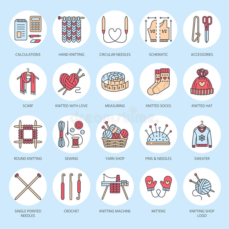 Knitting, crochet, hand made line icons set. Knitting needle, hook, scarf, socks, pattern, wool skeins and other DIY. Equipment. Linear signs set, logos with stock illustration