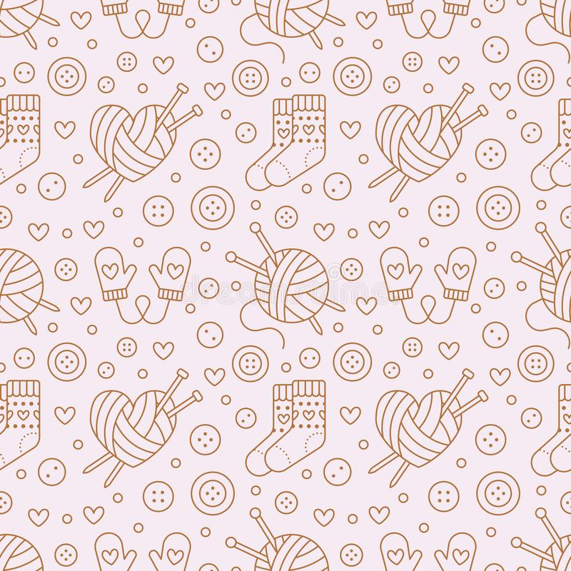 Knitting, crochet seamless pattern. Cute vector flat line illustration of hand made equipment knitting needle, hook. Wool scissors, cotton skeins. Pink royalty free illustration
