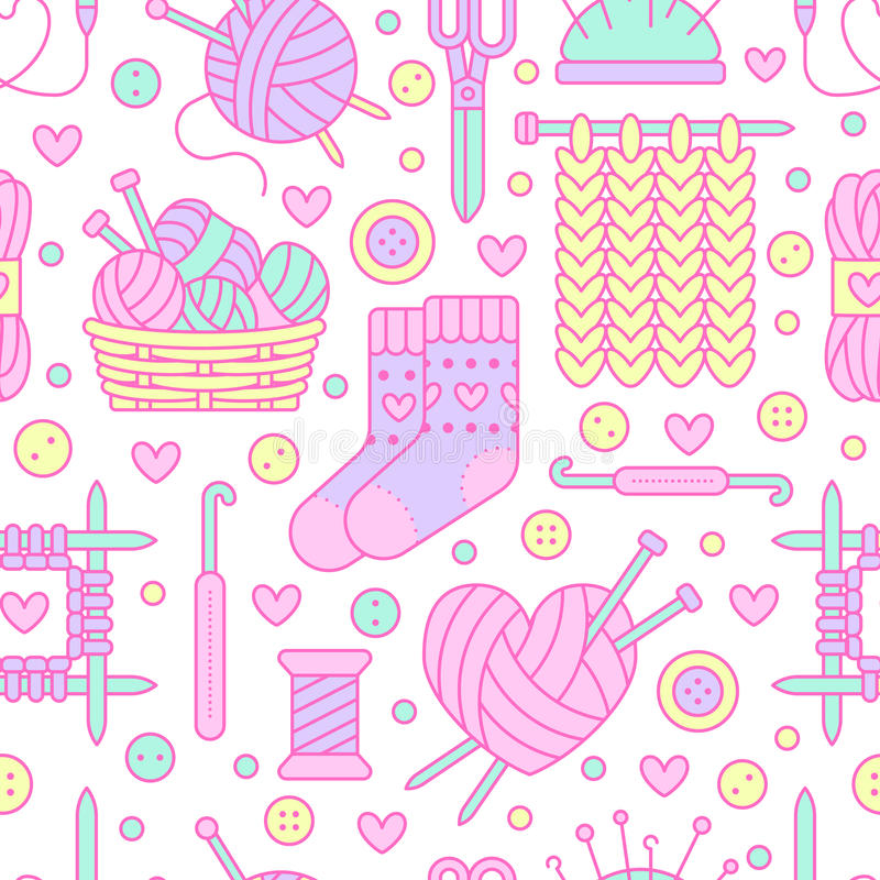 Knitting, crochet seamless pattern. Cute vector flat line illustration of hand made equipment knitting needle, hook. Wool, cotton skeins. Colored background vector illustration