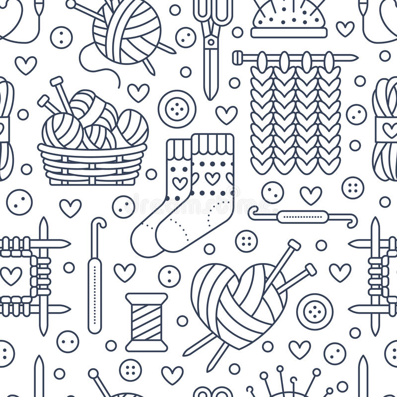 Knitting, crochet seamless pattern. Cute vector flat line illustration of hand made equipment knitting needle, hook, wool, scissors, cotton skeins. Background vector illustration