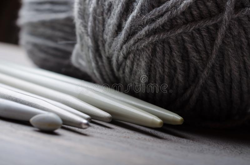 Knitting and crocheting tools stock images