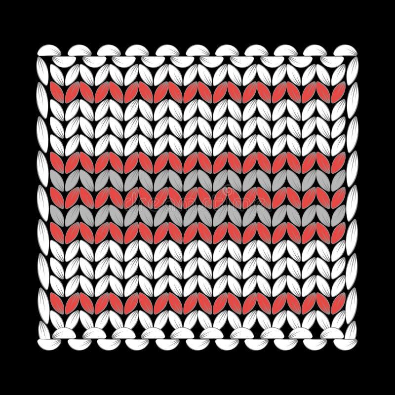 knitting Een gebreid patroon, tribune voor hete, vierkante, textuurlijnen Met de hand gemaakt ambacht, hobby Zwarte achtergrond royalty-vrije illustratie