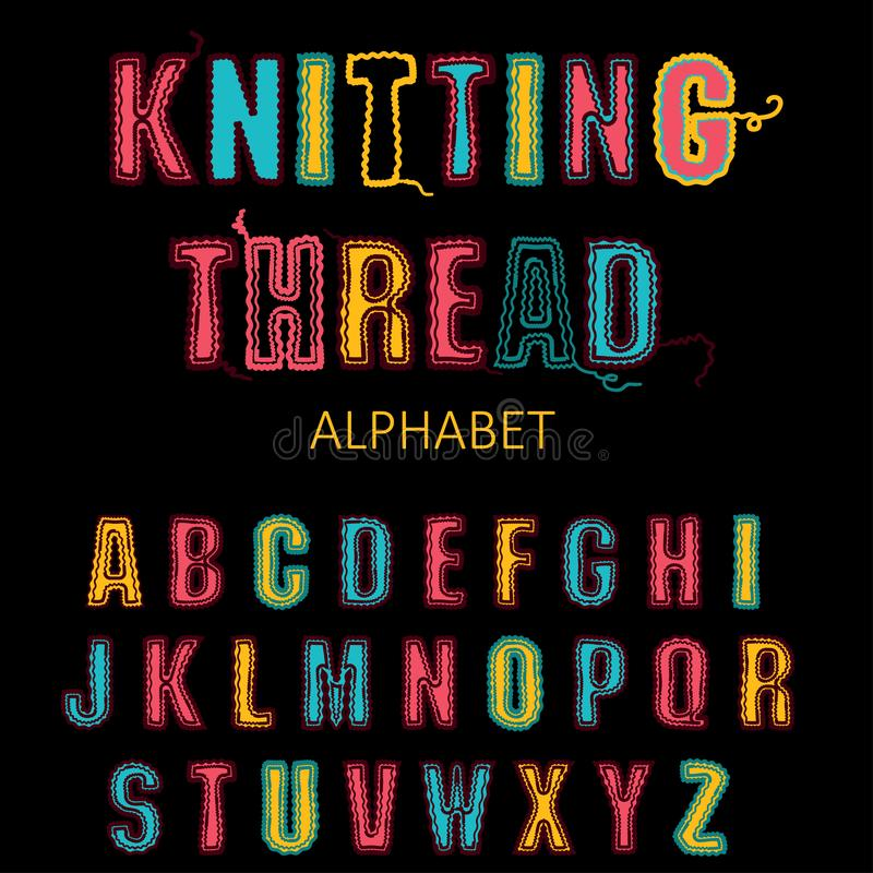 Knitting font, fairisle thread abc. Embroidered hand drawn alphabet royalty free illustration