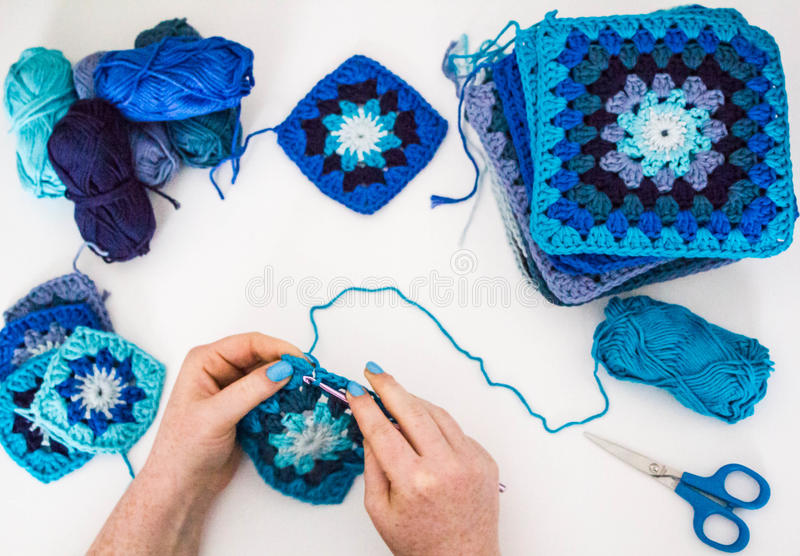 Download Knitting stock photo. Image of blue, nails, hands, knitting - 82339742