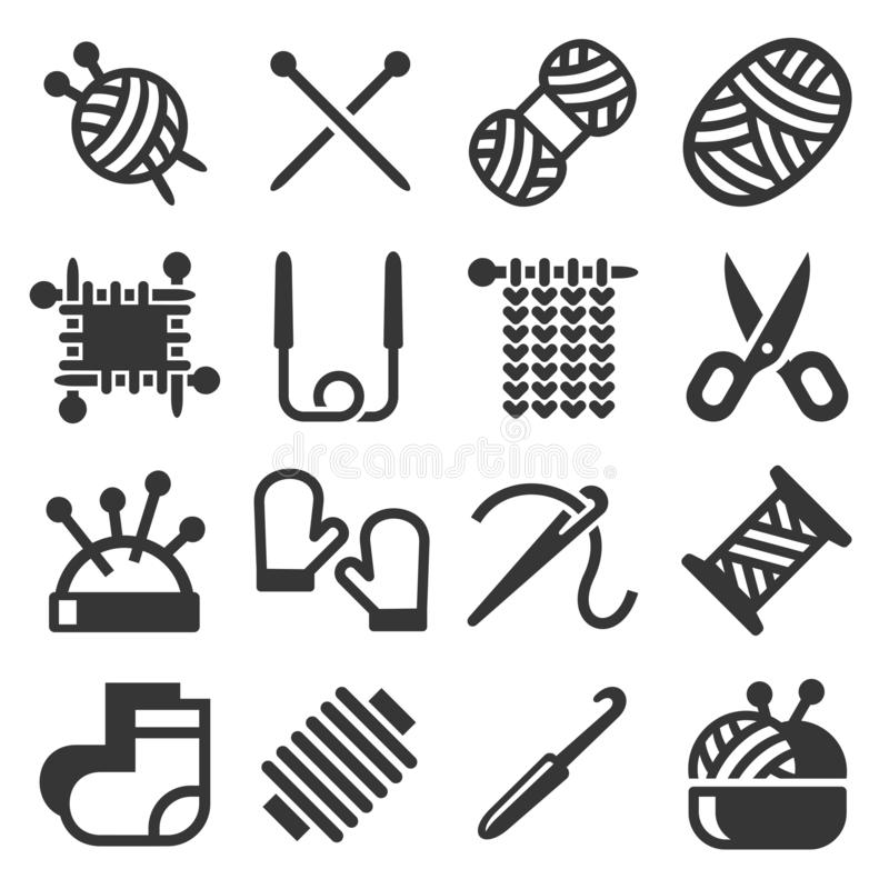 Knitting Hand Made Icons Set on White Background. Vector royalty free illustration