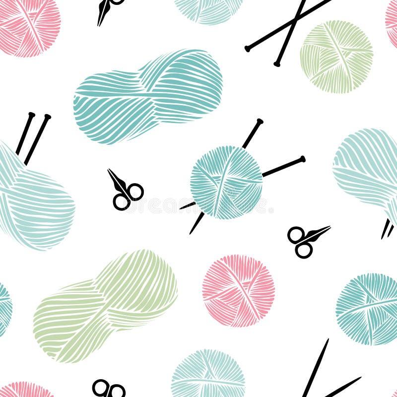 Knitting, handmade. Cute seamless background. Vector illustration royalty free illustration