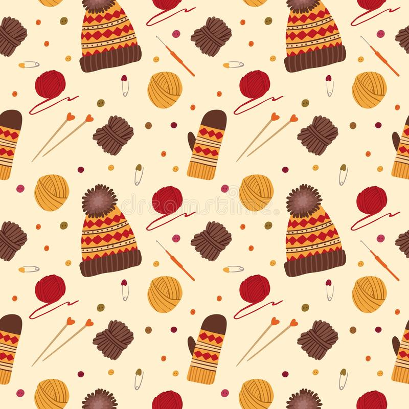 Knitting hats and gloves vector seamless pattern stock illustration