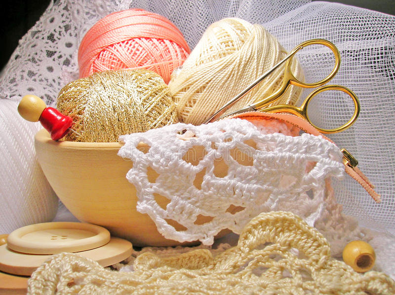 Knitting hobby needlework life-style. Photo file royalty free stock photo