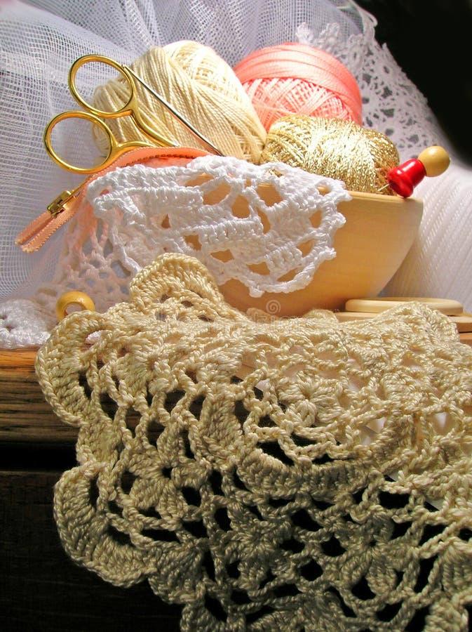 Free Knitting Hobby Needlework Tools And Lace Royalty Free Stock Photo - 13416705