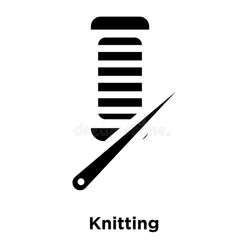 Knitting icon vector isolated on white background, logo concept. Of Knitting sign on transparent background, filled black symbol royalty free illustration