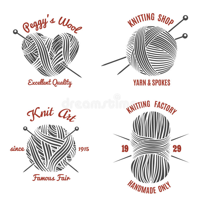 Line Drawing Yarn : Knitting labels and knitwear logo stock vector image