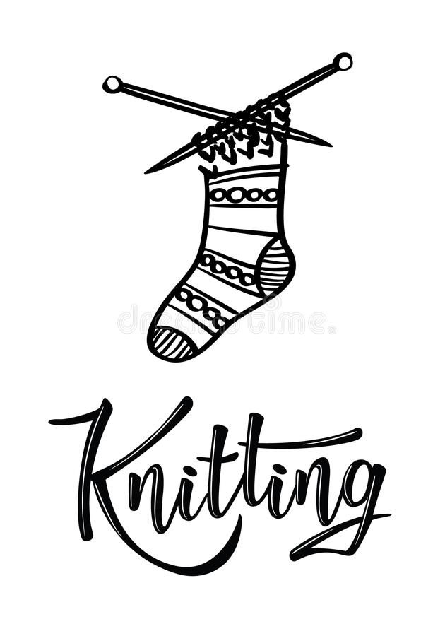 `Knitting` lettering logo with sock. Yarn store flat sign, illustration of wool skeins with knitting needles royalty free illustration