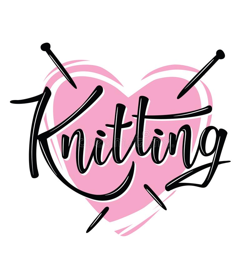 `Knitting` lettering logo for yarn store. Knitting shop lettering logo. Yarn store flat sign, illustration of wool skeins with knitting needles vector illustration