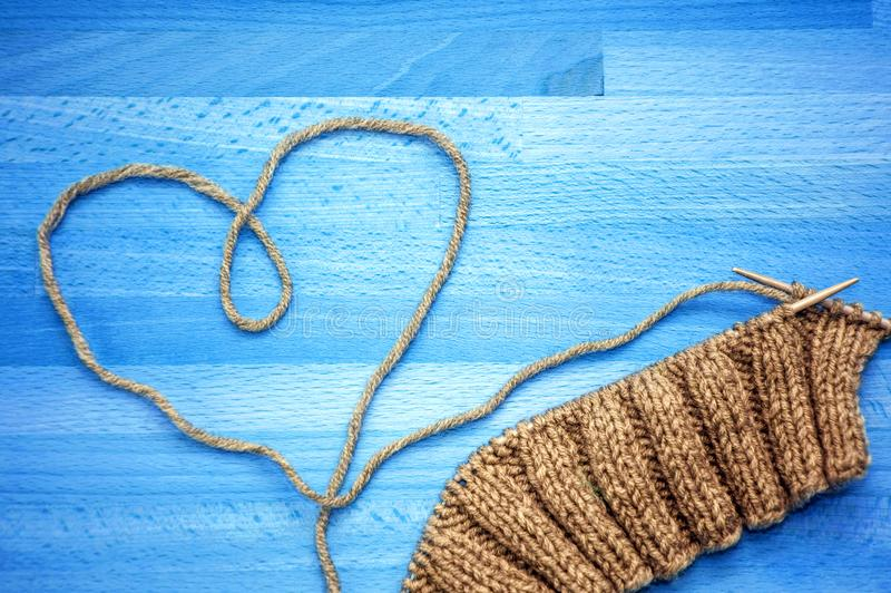 Knitting and lined heart stock image