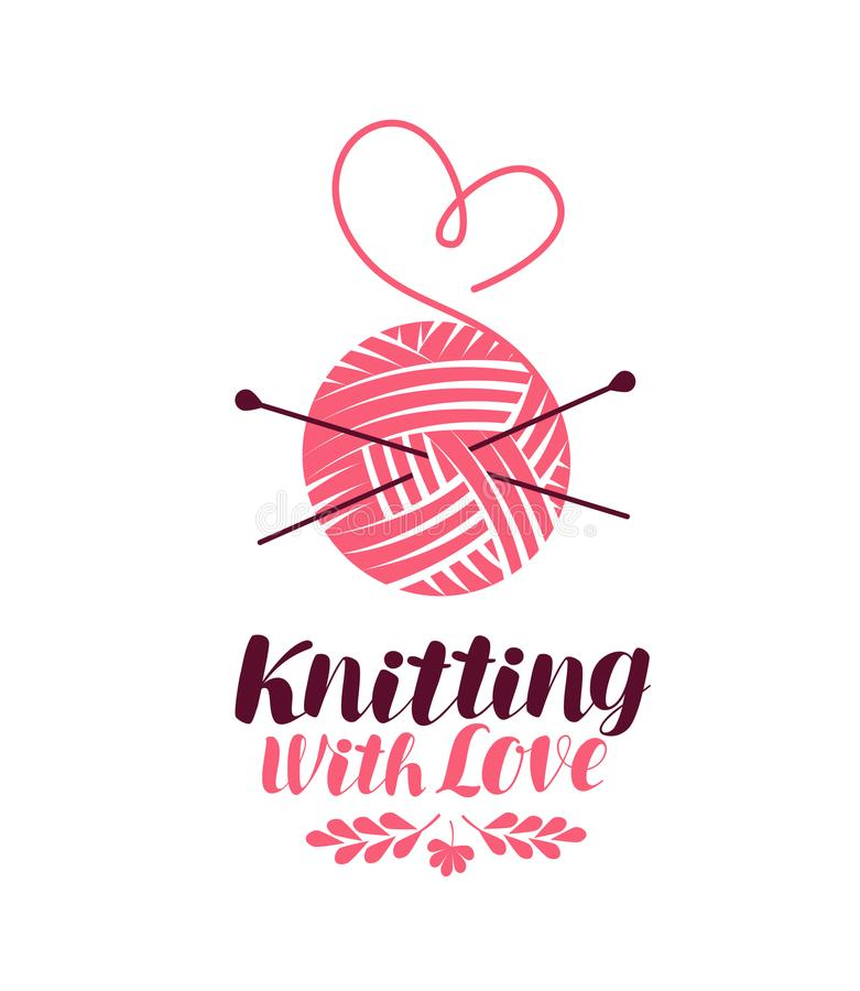 Free Knitting Logo Or Symbol. Ball Of Yarn With Needles, Knit Icon. Lettering Vector Illustration Stock Photos - 100522553
