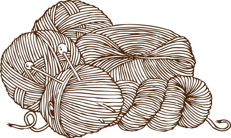 Knitting Logo. Yarn and Needles. Isolated on White Background stock illustration