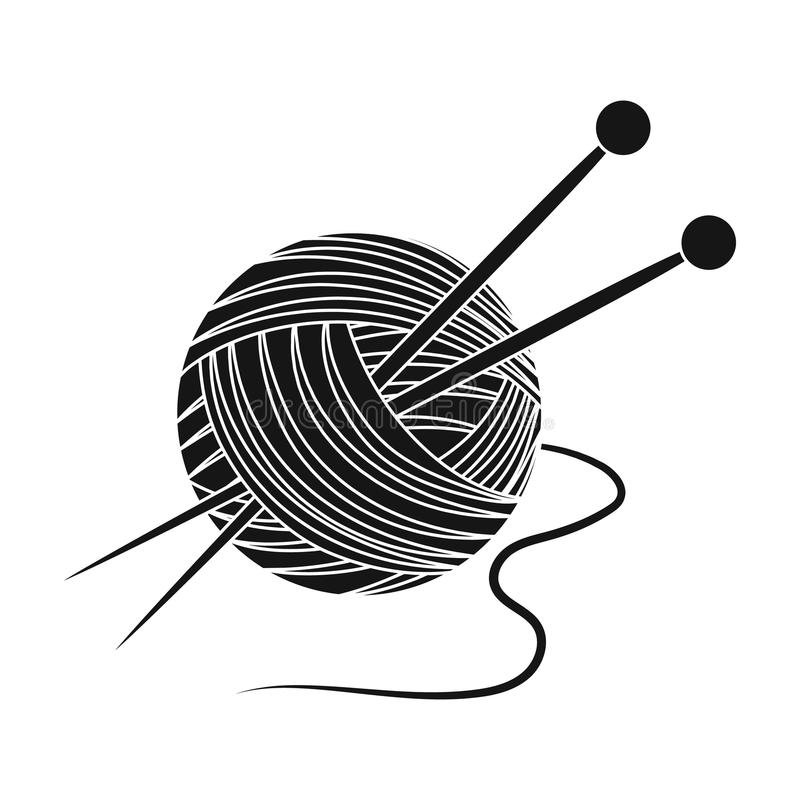 knitting Oude dag enig pictogram in het zwarte Web van de de voorraadillustratie van het stijl vectorsymbool royalty-vrije illustratie