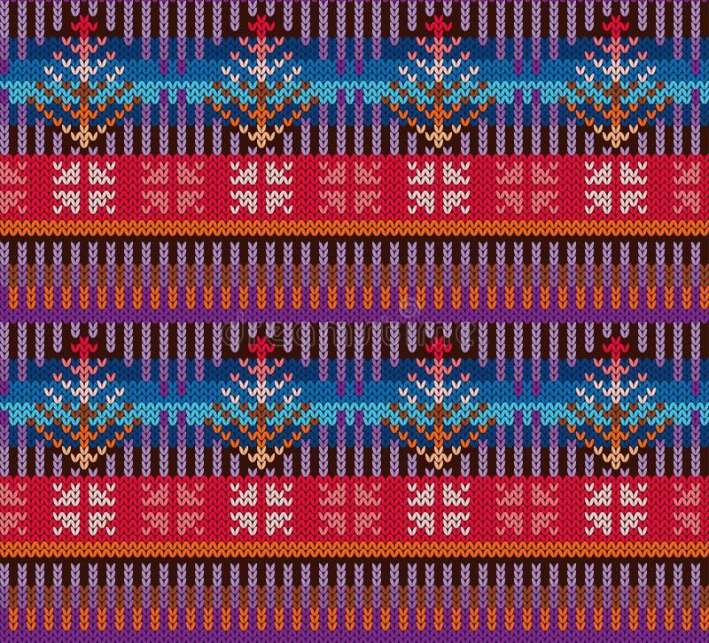 knitting Patroon in stijl Eerlijk Eiland Helder, veelkleurig Naadloos patroon Met de hand gemaakt handwerk, vervaardiging van sto vector illustratie