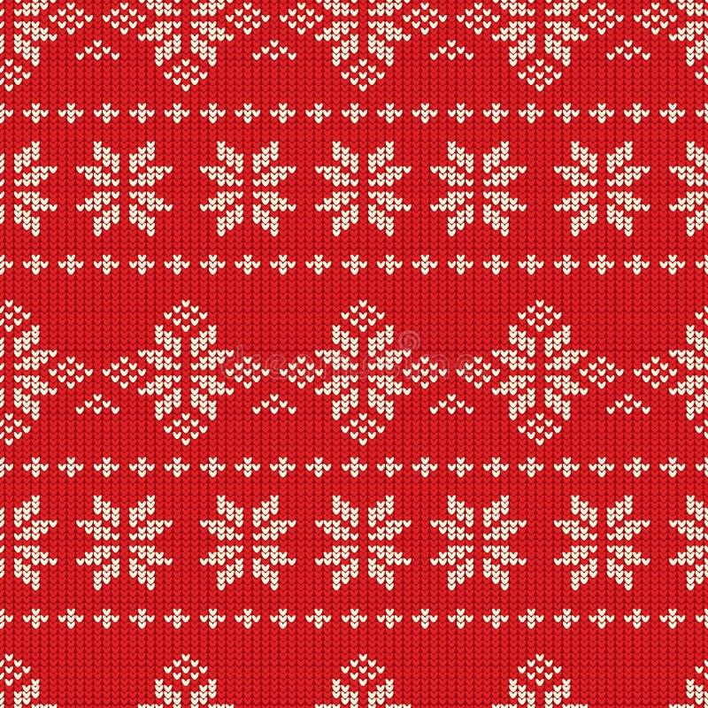 Knitting Pattern. Red Christmas Seamless Knitting Pattern, vector illustration stock illustration