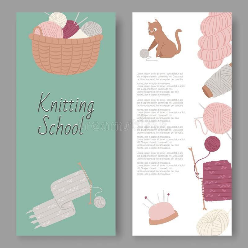 Knitting school and arts and crafts vector set of banners. Wool balls, knitted goods and knitting tools woolen scarf stock illustration