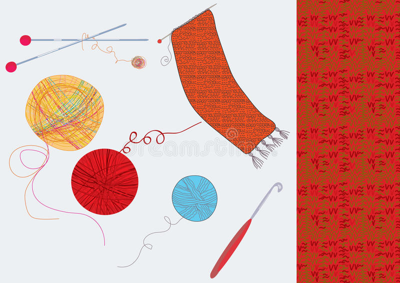 Download Knitting set with wool stock vector. Image of melange - 23773531