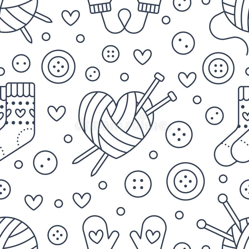 Knitting, sewing seamless pattern. Cute vector flat line illustration of hand made equipment knit needle, bottons, wool. Cotton skeins. Background for yarn stock illustration