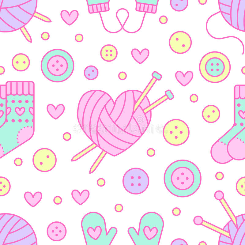 Knitting, sewing seamless pattern. Cute vector flat line illustration of hand made equipment knitting needle, bottons. Wool, cotton skeins. Colored background royalty free illustration