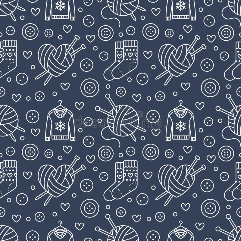 Knitting, sewing seamless pattern. Cute vector flat line illustration of hand made equipment knitting needle, bottons. Wool, cotton skeins. Dark blue stock illustration