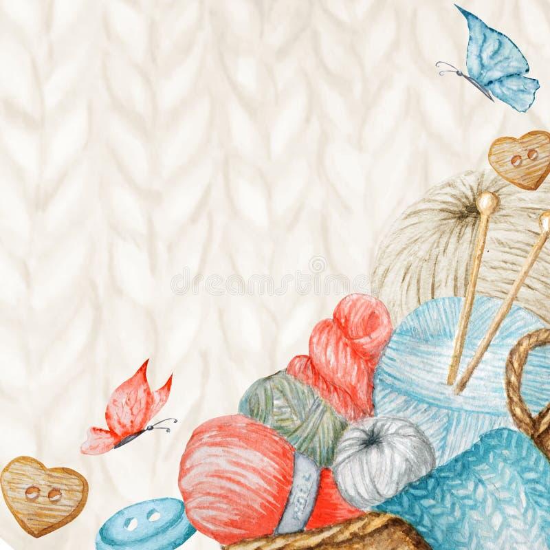 Knitting Shop Banner, Branding, Avatar - needles, yarns, button. For knit crafts, hobby. Illustration for handmade or. Knitting Shop Banner, Branding, avatar royalty free illustration