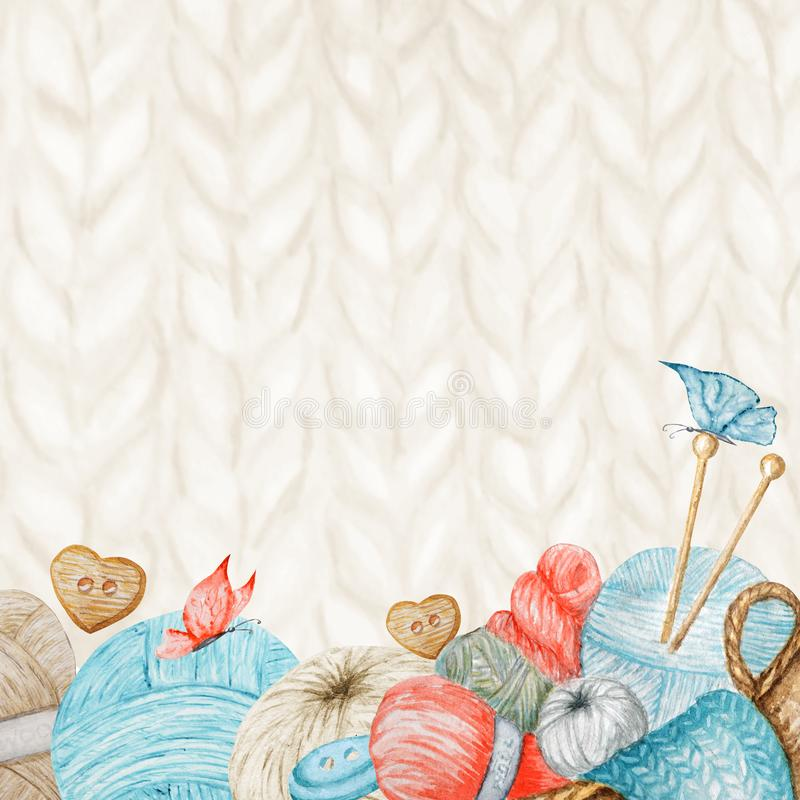 Knitting Shop Banner, Branding, Avatar - needles, yarns, button. For knit crafts, hobby. Illustration for handmade or. Knitting Shop Banner, Branding, avatar vector illustration